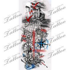 Trash polka nautical sleeve. | revisions #209648 | CreateMyTattoo.com
