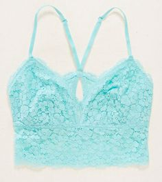 NWT Aerie by American Eagle Romantic Lace Longline Bralette, Teal, Sz S #Aerie…