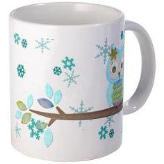 Winter Snowflake Owl Mug