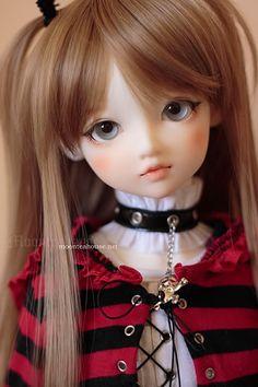 ✿• ' bjd ' ~ ' ball jointed doll ' •✿ punk fashion. . .miniature. . .striped sweater. . .choker necklace. . .makeup. . .hair ribbon. . .cute. . .kawaii