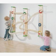 Wall mounted ball run. This would be great for kids who are too young for the marble runs. A small, simple version of this could maybe be fun somewhere? Toddler Activities, Activities For Kids, Diy For Kids, Crafts For Kids, Sensory Wall, Sensory Toys, Sensory Boards, Church Nursery, Indoor Playground