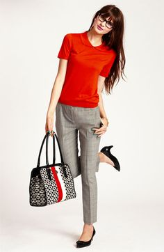 kate spade new york 'kyle' silk blend sweater & 'david' crop pants | Nordstrom