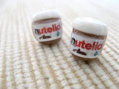 nutella jar miniature post earrings. $7.50, via Etsy.