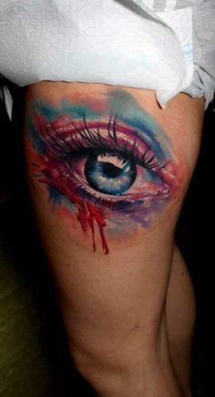 Large Watercolor Eye Tattoo