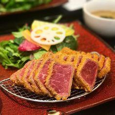 牛カツは美味しいー!  #カツ #牛カツ #ランチ #肉 #牛肉 #サラダ #スープ #ビーフ #beef #牛 #牛カツ専門店