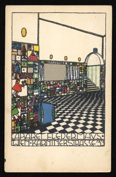 Josef Hoffmann, Josef Diveky (Illustration), Postcard for Cabaret Fledermaus, Wiener Werkstätte, 1910