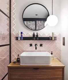 21 Stylish Ways To Lay Subway Tiles • One Brick At A Time Brick Style Tiles, Bathroom Tiles Combination, Pink Toilet, Grey Kitchen Designs, Decorative Wall Tiles, Downstairs Toilet, Herringbone Tile, Family Bathroom, Bathroom Ideas