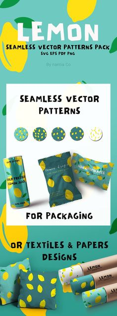 Lemon Seamless Vector Patterns Pack by nantia on @creativemarket