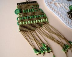 Unique micro macrame necklace pendant Green by MartaJewelry