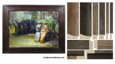 NEW reclaimed wood frames from Larson-Juhl Custom Frames! Here is an example of an original oil painting embellished with a wide reclaimed wood frame