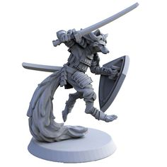 Samurai Fox 3d printed 35mm miniature