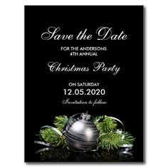 Christmas Or Holiday Party Save The Date Postcard Christmas engagement party, wedding shower or wedding reception