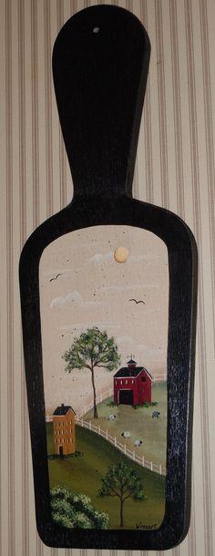 Hand Painted Primitive Folk Art Farm Barn by CoveredBridgePrim, $22.00