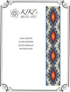 Peyote Pattern for bracelet - Ethnic inspired oval fantasy peyote bracelet pattern in PDF instant download