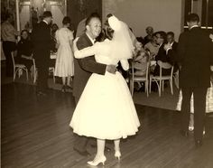 Walt Disney and daughter, Sharon, dance on the day of her wedding to Robert Brown. May 10, 1959.  ~~  (From WaltDisneyLand on Facebook.)
