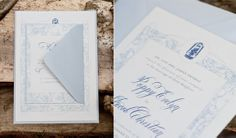 Romantic Peonies in Blue Wedding: Invitation Suite