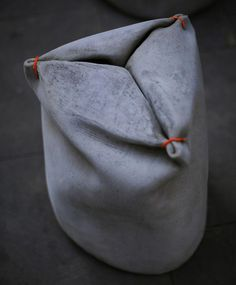 miriam estévez marries concrete & canvas in fabric. Concrete Bags, Concrete Stool, Concrete Cement, Concrete Furniture, Concrete Projects, Concrete Design, Polished Concrete, Recycled Furniture, Handmade Furniture