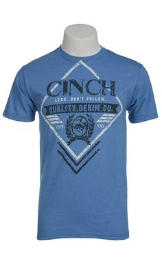 Cinch® Men's Blue with Black & White Logo Short Sleeve Tee