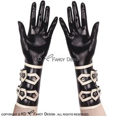 Zwart Met Wit Versieringen Sexy Korte Latex Handschoenen Met Gespen Rubber Wanten ST-0012