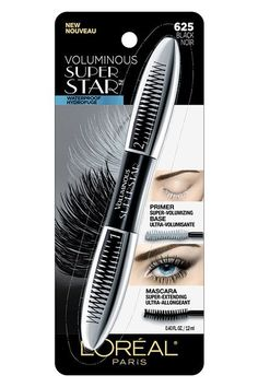 This waterproof mascara has us seeing double — in a good way. Comb the white primer end of this wand through your lashes to help build volume, then, switch to the mascara side to coat them in glossy blackness. L'Oréal Voluminous Superstar Waterproof Mascara, $8.30, available at Walmart. #refinery29 http://www.refinery29.com/best-waterproof-mascara#slide-6