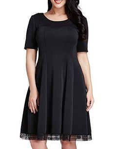 Nice Grapent Women s Plus Size Skater A-line Dress with Crochet Hem Knee Length  Party 4f8030aed7bb