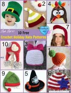 10 Free Crochet Holiday Hats Patterns Link List.