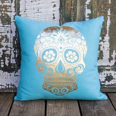 Sugar Skull Pillow Decorative Throw Pillow Day of by TheWatsonShop - OH I LOVE YOU SO MUCH!
