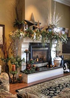 Most recent Cost-Free Fireplace Mantels diy Strategies Rustic Christmas Fireplace Mantel Decor To Inspire 06 Fireplace Mantel Christmas Decorations, Christmas Decorations For The Home, Christmas Mantels, Farmhouse Christmas Decor, Holiday Decor, Fireplace Ideas, Mantel Ideas, Holiday Mood, Gas Fireplace