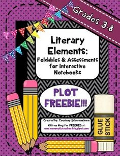 This bundle is a sneak-peek FREEBIE at my Literary Elements page bundle! The focus of this mini-bundle is PLOT, and includes all the materials. Elements Of Literature, Literary Elements, Story Elements, Middle School Reading, 5th Grade Reading, Guided Reading, Interactive Writing Notebook, Interactive Notebooks, Teaching Language Arts