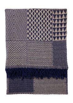 Blue cotton jacquard throw, woven by hand. By Toast. Just love the geometric patterns.