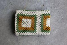 Vintage Afghan Blanket Granny Squares Mustard by QUIVERreclaimed