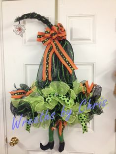 """Halloween wreath created by Wreaths by Chris   https://www.etsy.com/shop/WreathsByChris     Ephalba! She's all hat and legs! 10"""" mesh, legs, work rails and tutorial all from http://www.trendytree.com #trendytree #halloween"""