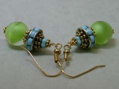 Vintage Lime Green Givre Glass Bead Earrings  by ForeverInStyle, $34.00