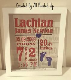 These cute birth announcement make the perfect gift for new bub. They are made using a white frame with the vinyl on the reverse side of the glass. No backing just the glass so you see the wall colour through them. Simple inexpensive gift.    All Frames ae white in colour. You may choose 2 vinyl colours. Remember don't choose colours that clash.    When you order you need to leave me the details. Name; date of birth; birth weight in lbs and length in inches, I'll create the rest.    Also…