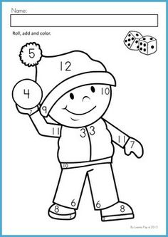 math worksheets activities winter beginning skills a page from the unit color by number dice addition - Color Number Winter Worksheets