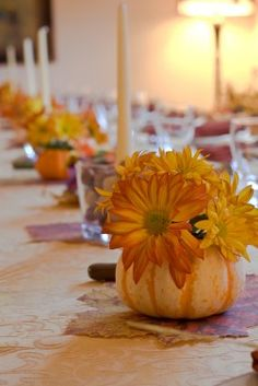 daisies and pumpkin center pieces