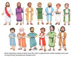 Jesus Christ and his 12 Apostles, clip art and coloring pages Bible Stories For Kids, Bible Crafts For Kids, Biblical Costumes, Sunday School Coloring Pages, Jesus Crafts, Bible Illustrations, Bible Pictures, Religion, Black And White Lines