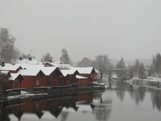 Porvoo, Finland in winter. Christmas Town, Finland, Cabin, House Styles, Winter, Places, Travel, Outdoor, Beautiful