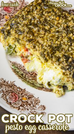 Our Crock Pot Pesto Egg Casserole is an easy low carb breakfast casserole with fluffy eggs, savory pesto, tomatoes, basil and mozzarella cheese. Low Carb Breakfast Casserole, Low Carb Breakfast Easy, Breakfast Crockpot Recipes, Vegetarian Crockpot Recipes, Casserole Recipes, Slow Cooker Recipes, Gourmet Recipes, Low Carb Recipes, Cooking Recipes