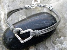 Artisan Sterling Silver Heart Gray Leather Bracelet Multiple Strands