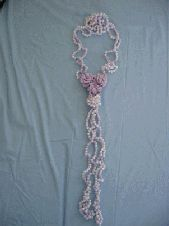Pearl Necklace with 3 Flower Center Motif Free Crochet Pattern