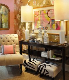 Amazing pink, wallpaper, tufting, lamps - very glam (# house of fifty)