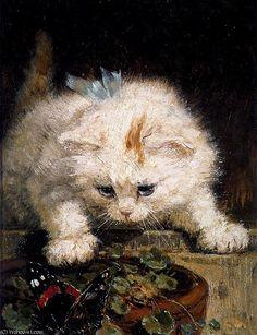 tentation soleil de Henriette Ronner Knip (1821-1909, Netherlands)