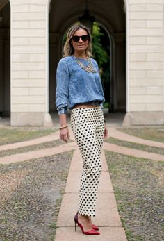 Italian girl street styling polka dots pants