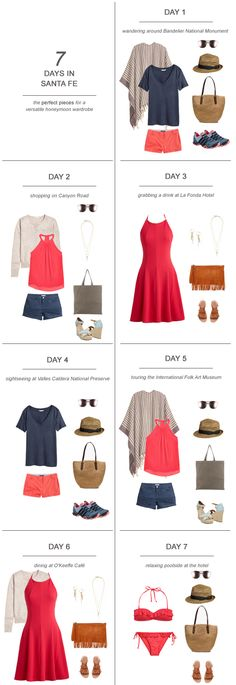 One of the hardest parts about planning the honeymoon can be figuring out what the hell you're going to pack! Often, you've never been to the location that you'll be 'mooning at and it can be tempting to over plan and over pack. Don't do it! Save your money and save your sanity by pre-planning your wardrobe and packing a few versatile pieces (thus, saving precious space for shopping!). Here's my tips and suggestions on packing for 7 days in Santa Fe: