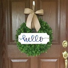 Thats right, My hello wreath is the #1 pinned wreath on Pintrest!! You can also find it on Porch.com and DIYHomeDecorz.com, as well as, LuxeFinds.com. I have improved the original to include a hand painted hello sign and a removable or interchangeable bow. And best yet, its now