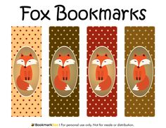 Free printable fox bookmarks. Each bookmark features a red fox on a polka dot background. Download the PDF template at http://bookmarkbee.com/bookmark/fox/