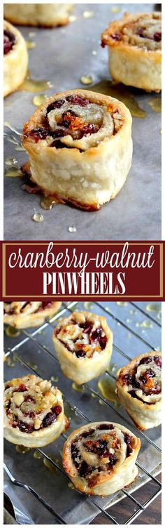 Cranberry and Walnut Pinwheels - My most asked for and loved Holiday cookie-dessert! Pie dough wrapped around a rich cranberry & walnut filling. (recipes for snacks treats) Mini Desserts, Cookie Desserts, Just Desserts, Cookie Recipes, Delicious Desserts, Dessert Recipes, Yummy Food, Appetizer Recipes, Winter Desserts