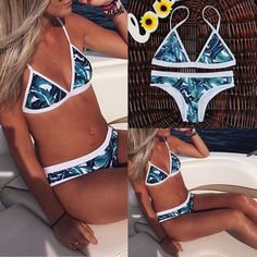 bfc02621efce5 Women Push-up Padded Bra Bandage Bikini Set Swimsuit Triangle Swimwear  Beachwear