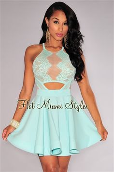 6121a018af Mint Lace Nude Mesh Key-Hole Back Flared Dress. www.hotmiamistyles.com. Hot  Miami Styles